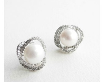Elegant!!! Big Fresh Water PEARL with PAVE CZ Set Silver ear studs / earring