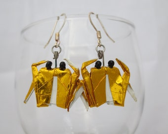origami crab earrings, red or gold