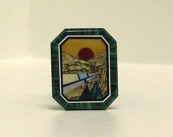Mountain Range Sunset Intarsia.0004
