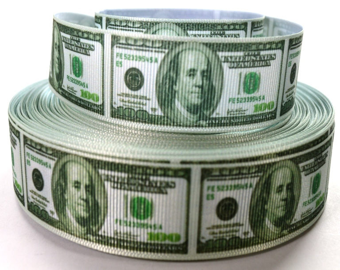 "1"" Money Ribbon - Dollar Bills - Printed Grosgrain Ribbon"