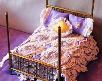 Lavender and Lace brass mini doll bed. OOAK.