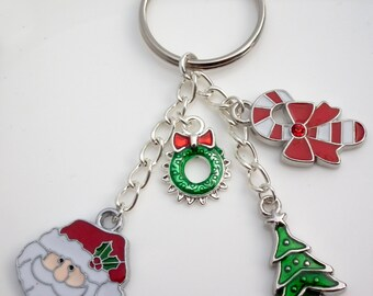 Christmas Tree Santa Candy Cane Wreath Enamel Keyring