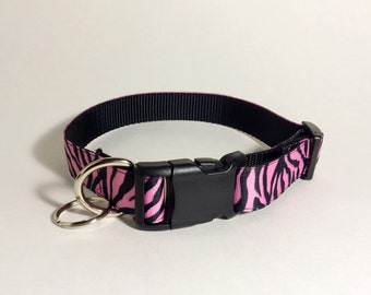 Pink and Black Zebra Print Adjustable Dog Collar (Medium)