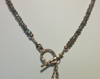 Facetted Mystic Labradorite and silver necklace