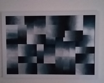 Modern Abstract Original Wall art in Metallic Blue, Silver, Black