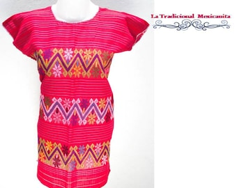 Mexican Huipil Blouse: network / red Mexican blouse. Ready to send.