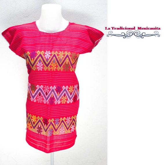 Mexican Huipil Blouse : Red/ Blusa Mexicana Roja. Ready to