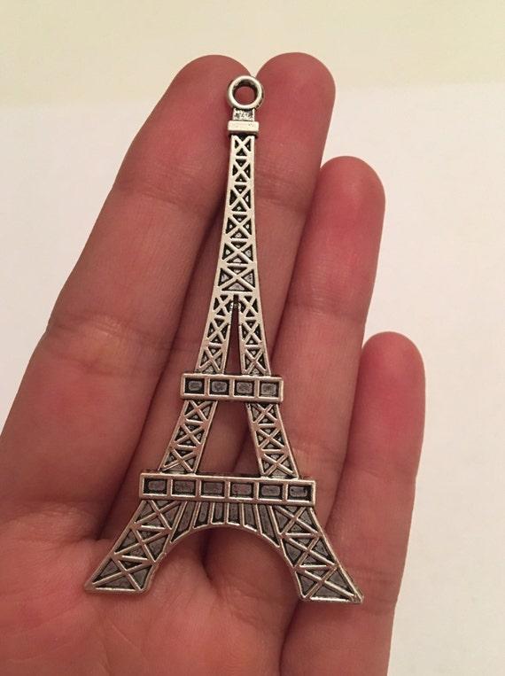 3 Large 70mm Eiffel Tower Paris Tibetan Silver Pendants Charms Jewellery Making Supplies Favor Embellishment Scrapbooking Findings Connector