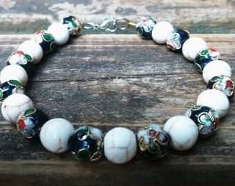 Monochrome porcelain beaded bracelet
