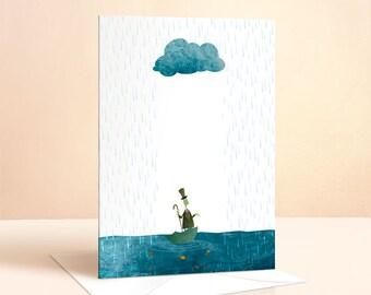 Looks Like Rain Card | Birthday Card | Kids Birthday | Nursery Art | Greeting Card | Childrens Art | Childrens Card | Cloud Illustration