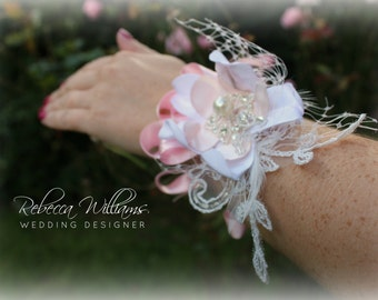 Pink and Ivory Wrist Corsage
