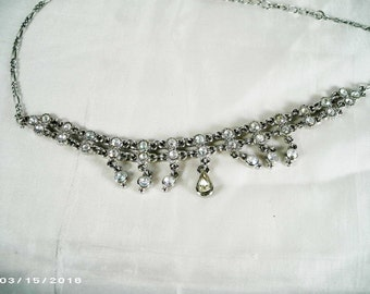 "Crystal Choker necklace 15"" in Silver tones"