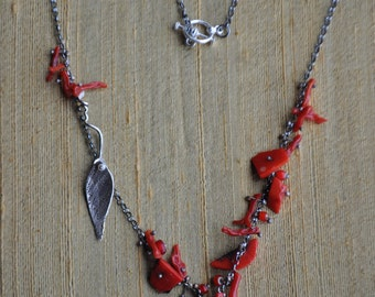 Handcrafted  sterling silver & coral necklace