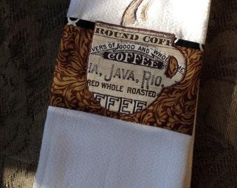"Original design, appliqued ""steaming"" coffee mug with coffee words fabric on dish towel"