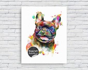 French Bulldog Portrait Illustration Canvas Print