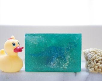 Blue Glitter Dinosaur Soap