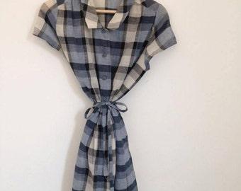 Tartan Vintage Blue Dress with Tie
