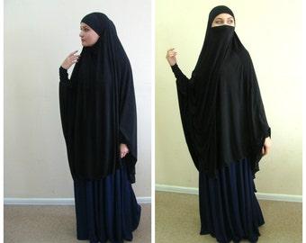 Transformer Khimar, niqab transformer,black niqab, black nikab, traditional hijab, 1 piece hijab, ready  to wear hijab,  long hijab, burqa