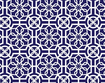 Trendy Trellis Navy/White Cotton Fabric - Bahama Breeze Collection, Fat Quarter, Fabric by the Yard, Sewing, Quilting, Navy Fabric, Cotton