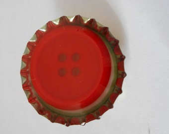 Red Button Resin Pin