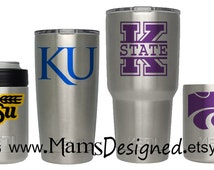 KU, K-State, WSU Inspired Vinyl Decal | Yeti | Water Bottle | Cup | Laptop | Phone | Tablet | Personalized | Custom Decal