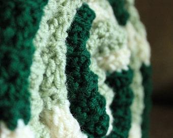 Green & Cream Crocheted Blanket