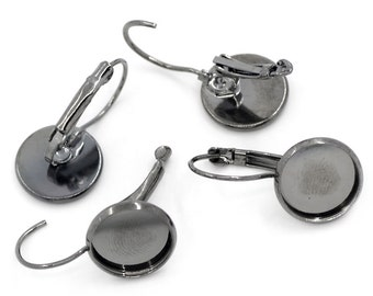 10 earring (blank) - 26 * 13 mm - metal-grey / B1-0026