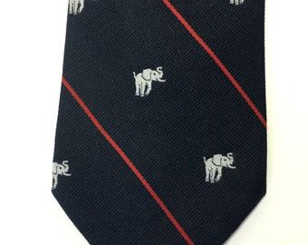 Rare Vintage Elephant Republican Red White and Blue Alynn USA Necktie, FREE Shipping USA