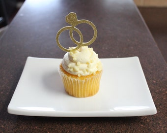 Gold Wedding Ring Cupcake Toppers