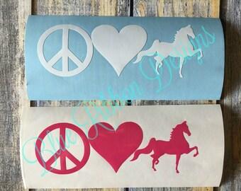 Peace, Love, Saddlebreds VInyl Decal Laptop Car Truck