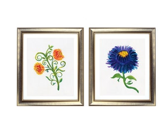Flower Print Set, Blue and Yellow Flowers Art Print, Watercolour Flowers Print Set, Australian Artist, Pair of Art Prints, Set of Two Prints