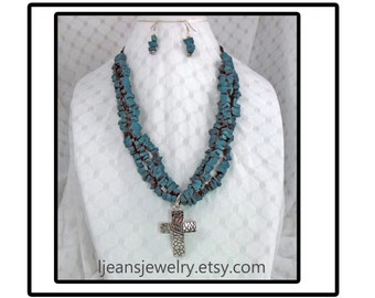Faux Turquoise Beaded Polymer Clay with Cross Necklace and Earring Jewelry Set