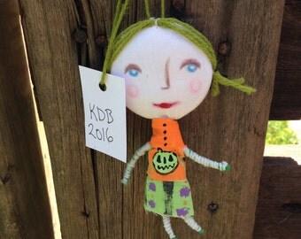 Halloween Art Doll Ornament Handmade in Ohio