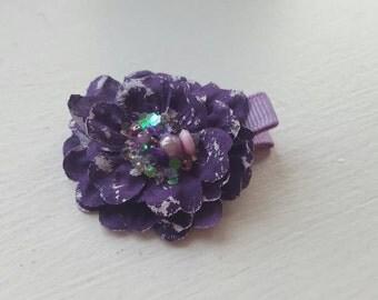 Dark Purple Flower Hair Clip. Partially covered alligator clip.