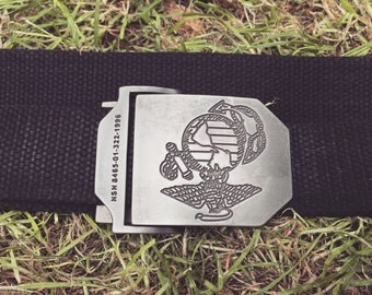 Black canvass military belt