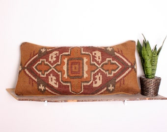 Bohemian Cross Kilim Bolster Cushion Pillow Handwoven Using Traditional Design
