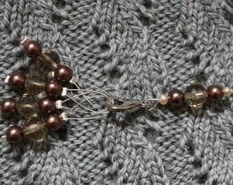 Knitting stitch marker set: Chocolate