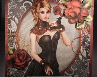 """6"""" Square Gothic Beautiful LadyWith Red Roses Hand Made 3d Decoupage Card Topper"""