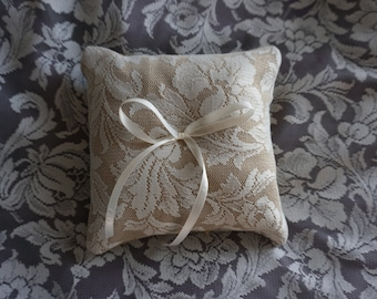 Hessian Burlap Lace Ring Bearers Pillow for Wedding