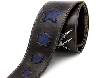 Handcrafted leather guitar strap, Space themed strap, Brown and blue - the COSMONAUT