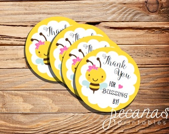 Bee Favor Tags, Bumblebee party, bumble bee theme, digital file, bumblebee, printable favor tags, party supplies.