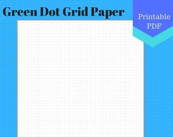 PRINTABLE Green Dot Grid Paper, letter, jr, half