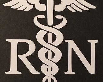 RN Caduceus vinyl decal, Car, Laptop, Computer, Coffee Mug, Coffe Cup RN LPN Nurse Nursing Free Shipping