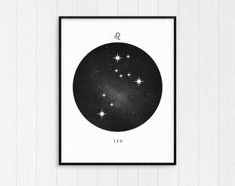 Leo Print, Leo Zodiac, Leo Art, Leo Star Sign, Leo Constellation, Horoscope Decor, Digital Download, Zodiac Art, Leo Poster, Leo Gift