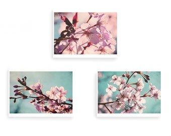 Cherry Blossom, Floral Wall Art, Pastel Wall Art, Pink Flower Print, Spring Blossom Print, Set of 3 Prints, Teal Wall Art