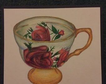 Tea cup - coloured pencil