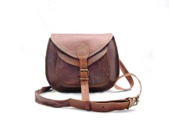 Natural goat leather saddle bag / cross body shoulder bag.
