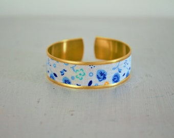 White fabric Cuff Bracelet with blue flowers
