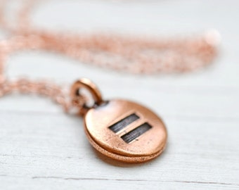 Copper Equal Sign Necklace, Meditation Necklace, Equality Necklace, Yoga Necklace, Equal Rights, Delicate Copper Chain, Pride Equality Now