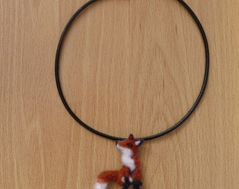 Fox necklace,Fox pendant,Fox jewellery,Fox,Jewellery,Felted Fox,Made to order